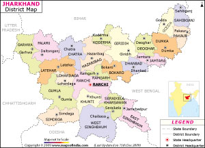 jharkhand, about jharkhand , list  of district in jharkhand , jharkhand Map