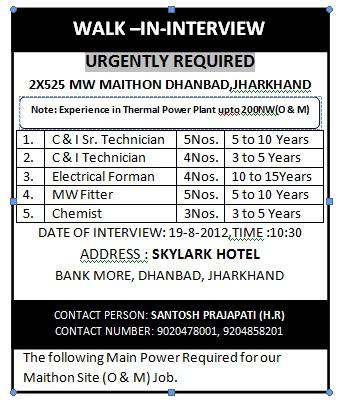 Job in Dhanbad, Forman job in Maithan,