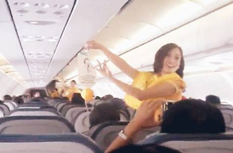 Pic Courtesy:gulfnews.comshowing Cebu Pacific's dancing flightattendant