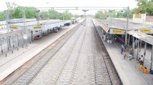 Picture shows Railway track at Hazaribagh Railway station in Jharkhand