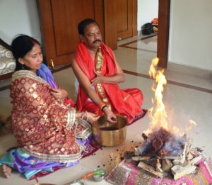 Picture shows CM Raghubar Das with his wife offering puja of the Lord Ram on the Ram Navmi festival inside his official residence in Ranchi on Saturday.