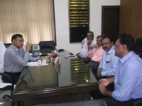 Picture shows FJCCI representatives meet PCCF,Jharkhand inside his office chamber in Ranchi on September 9,2016.