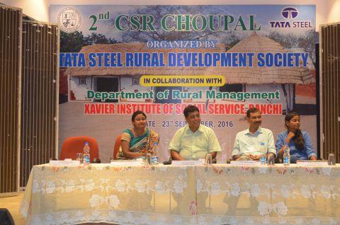 Picture shows Ambika Nanda, Head CSR,TSRDS, Odisha,Dibyahas Ray, Sr.Manager as Unit head in Kalinganagar,Odisha,Sreya Ganguly, Executive HR, TSRDS at XISS's  2nd CSR Choupal in Ranchi on September 23,2016.