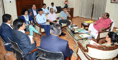 *Picture shows CM Raghubar Das together with Chief Secretary Raj Bala Verma and others holding meeting with Microsoft staff including Sanjay Gupta kinside project Bhawan in Ranchi on September 13,2016..