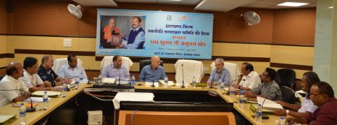 Anupam Kher with Jharkhand IPRD Director AK Pandey attending JFTAC meeting inside Suchna Bhawan in Ranchi