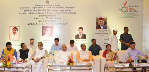 Picture shows Centre and the state government functionaries participating in awareness campaign the banner of Central government's 'Sugamya Bharat Abhiyan' inside BNR Chanakya hotel in Ranchi on September 6,2016.