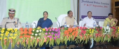 Shows (From Right to Left)Additional Chief Secretary NN Pandey,Chief Minister Raghubar Das,Chief Secretary Raj Bala Verma and DGP DK Pandey.
