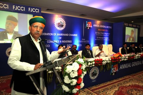Ranchi, Jharkhand 23 September 2016 :: Union State Minister for Finance Arjun Ram Meghwal addressing at the 52nd Annual General Meeting of Federation of Jharkhand Chamber of Commerce and industries (FJCCI) in Ranchi on Friday. Photo-Ratan Lal