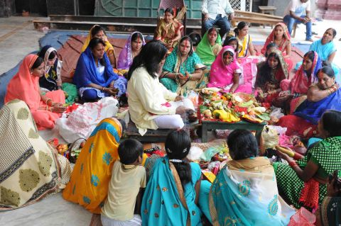 Ratan Lal's picture shows marriaged women sitting around a priest performing Teej Puja at Rammandir, Chutia in Ranchi on September 5,2016