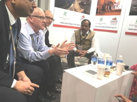 Picture shows Jharkhand CM raghubar Das with U.S. Investors at Mining Expo stall of the state government at Las Vegas on September