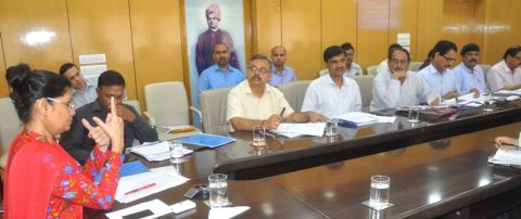 Picture shows Jharkhand Chief Secretary Raj Bala Verrma using video conference to hold meeting with the state health department officials and directing Civil Surgeons and District Health Officers inside project Bhawan in Ranchi on September 3,2016.