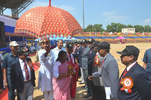 *Pictures show Jharkhand Governor Draupadi Murmu inside Birsa Munda Foot Ball stadium in Ranchi where she inaaugurated the 5th All India Police Archery Championship-2016  on October 19,2016.