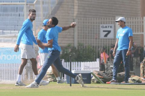 Ranchi, Jharkhand 25 October 2016 :: Indian team players during a practice session ahead 4th ODI against New Zealand at Jharkhand State Cricket Association (JSCA) Stadium in Ranchi on Tuesday. Photo-Ratan Lal