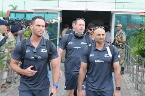 Ranchi, Jharkhand 24 October 2016 : News Zealand team members arrives Birsa Munda International airport in Ranchi for 4th ODI match ageists India in Ranchi on Monday. Photo-Ratan Lal
