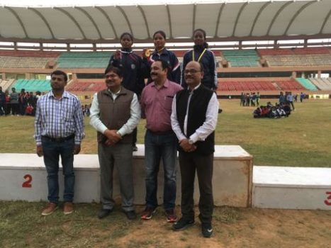 Picture shows the concluding scene of the Sports competition -Kheo India inside Astroturf Hockey stadium in Ranchi on Monday.
