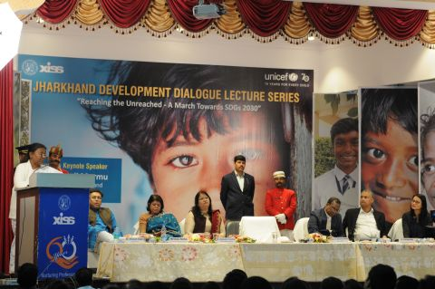 *Picture shows Governor Draupadi Murmu and others taking part in UNICEF's 70th anniversary, the 'Jharkhand Development Dialogue' lecture was organized in Ranchi on November 30,2016.
