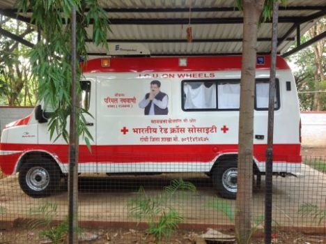 *Pictutre shows Advance Life Saving & Cardiac Care Mobile Van donated by Parimal Nathwani to RIMS hospital in Ranchi.