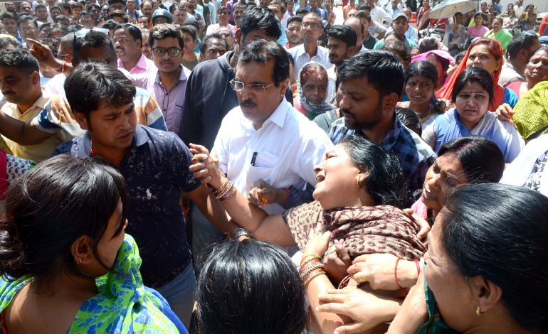 Family and relatives of Bipul Singh mourn at Argora Maidan in Ranchi on Wednesday