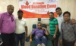 जे.सी.आई रांची ने किया 36 यूनिट रक्तदान